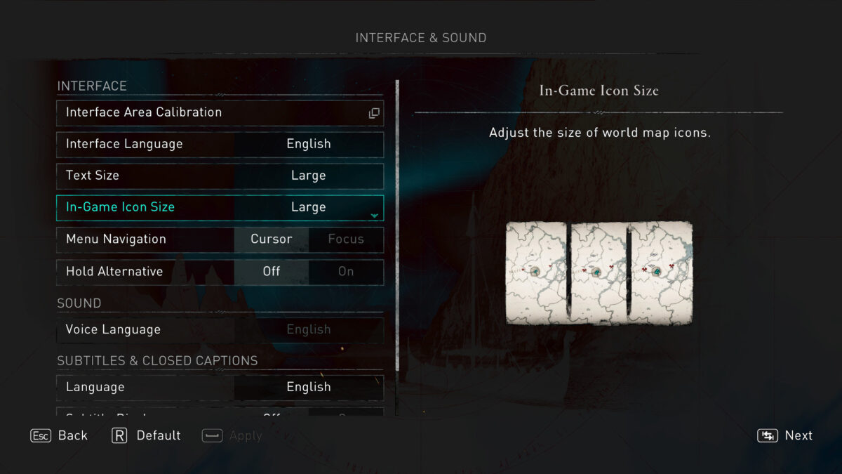 Interface, Sound and Subtitles and Closed Captions. Here you can adjust the Safe Zone, Interface Language, Text Size, In-Game Icon Size, Menu Navigation with Cursor or Focus. Voice Language, Subtitles Language, Size and Background Opacity.