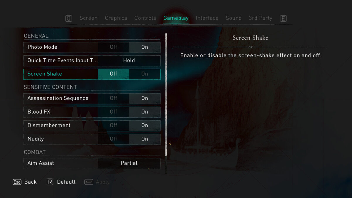 Gameplay menu with options to turn on / off Photo Mode, Quick-Time-Events Input Type, Screen Shake, Blood FX, Assassination Sequences, Dismemberment, Nudity, Aim-Assist and Guarantee Assassination.