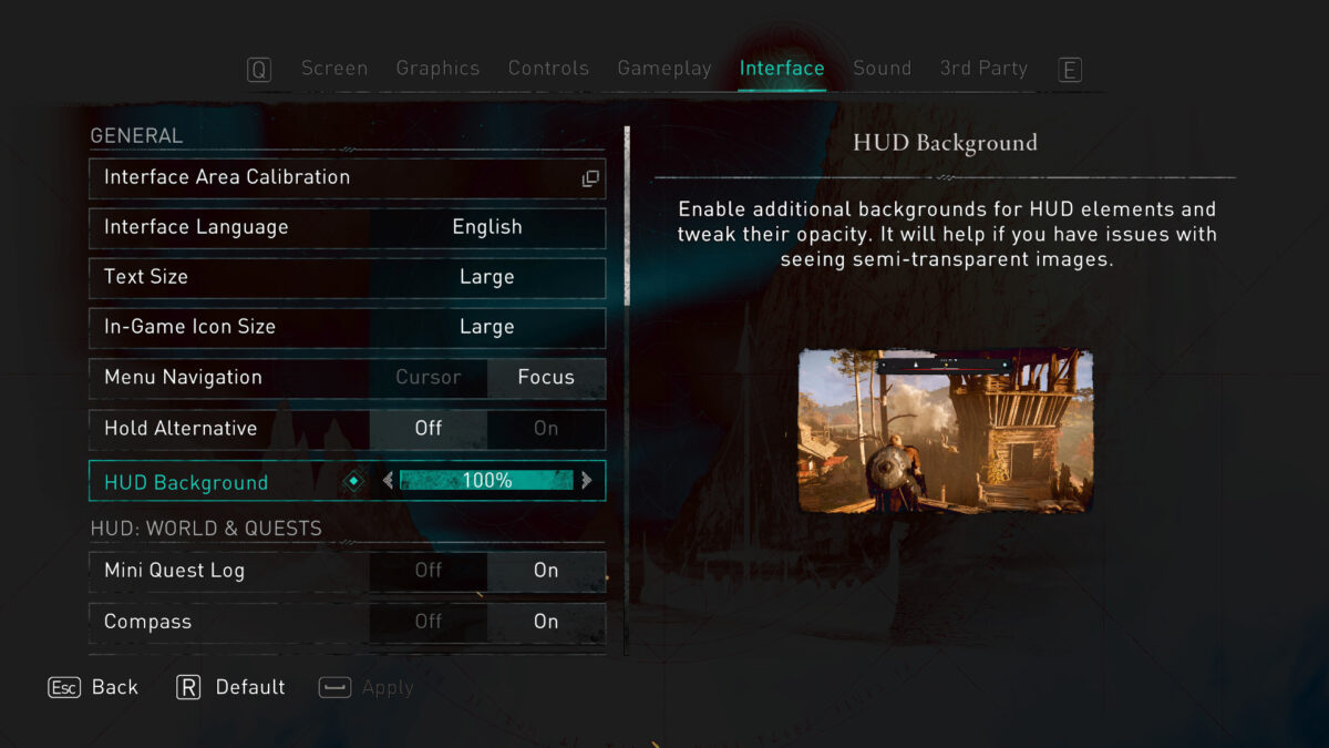 Interface menu. Interface Area Calibration, Interface Language, Text Size, In-Game Icon Size, Menu Navigation, Hold Alternative, HUD Background and HUD granular options for all elements.