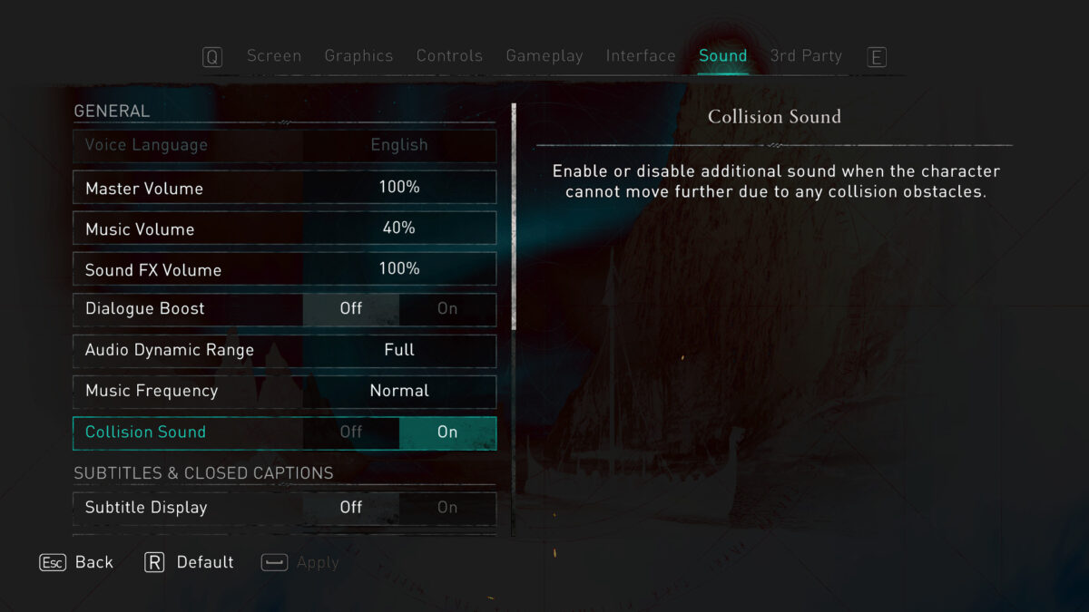 Sound menu, options for Voice Language, Master Volume, Music Volume, Sound FX, Dialogue Boost, Dynamic Audio Range, Music Frequency, Collision Sound, Menu Narration on / off, Menu Narration Voice, Menu Narration Pace, Menu Narration Volume.
