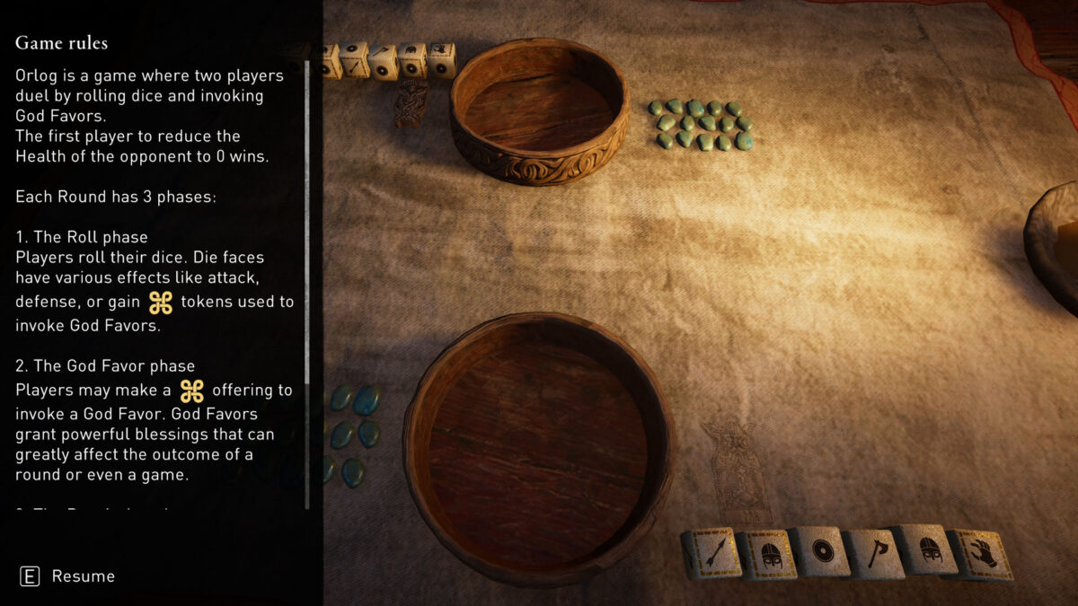 Orlog, a Viking dice game with the rules on the left.