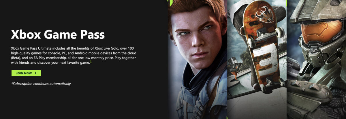 Xbox Game Pass, join now! Screenshot examples of games you can play, that all look super cool