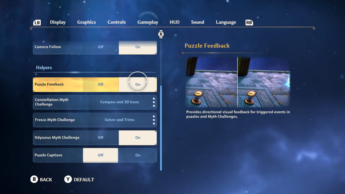 Gameplay menu with puzzle feedback, constellation, fresco and Odysseus myth challenges and puzzle captions
