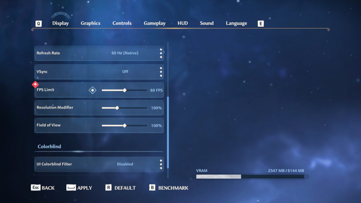Display menu with refresh rate, v-sync, fps limit, resolution modifier, field of view, UI colorblind filter