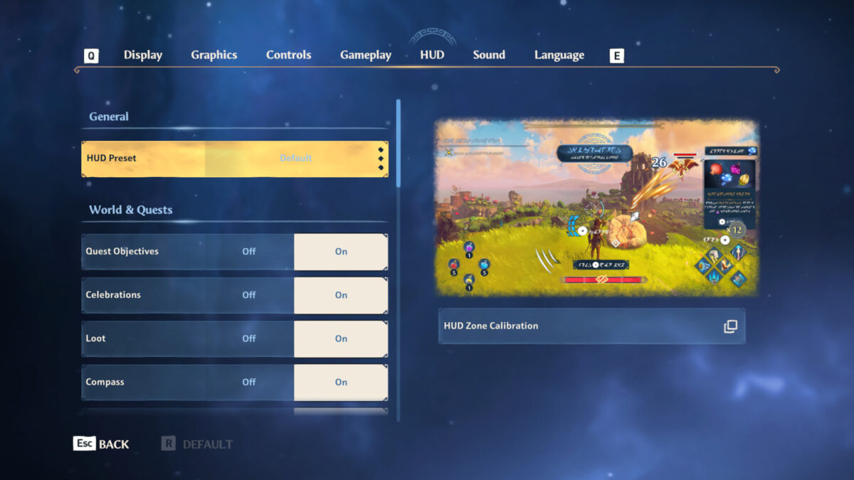 HUD menu with HUD preset, Quest objectives, celebrations, loot and compass