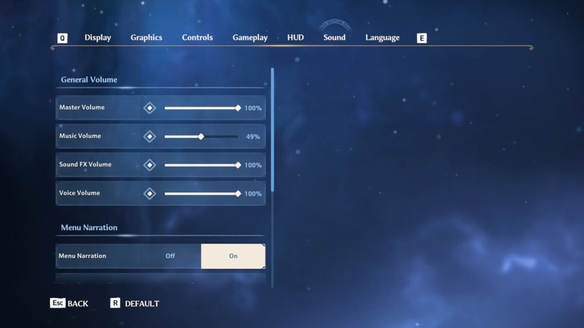 Sound menu with master, music, sound effects, voice volume sliders and menu narration