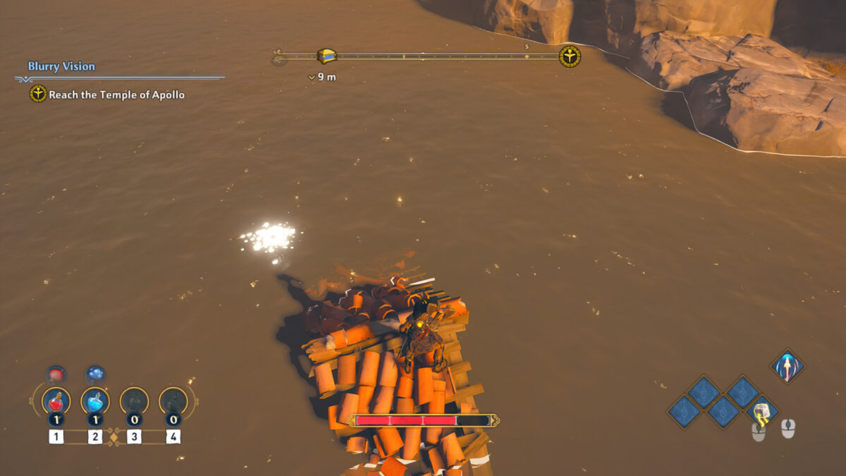 Fenyx on top of a house roof surrounded by water and a shiny mark highlighting an item underwater