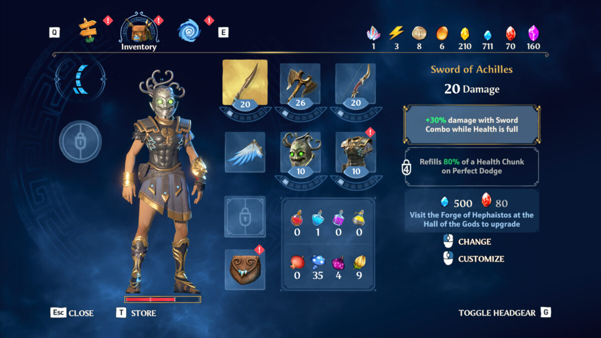 Inventory menu showing your armor, materials, item description and all types of gear collected and information