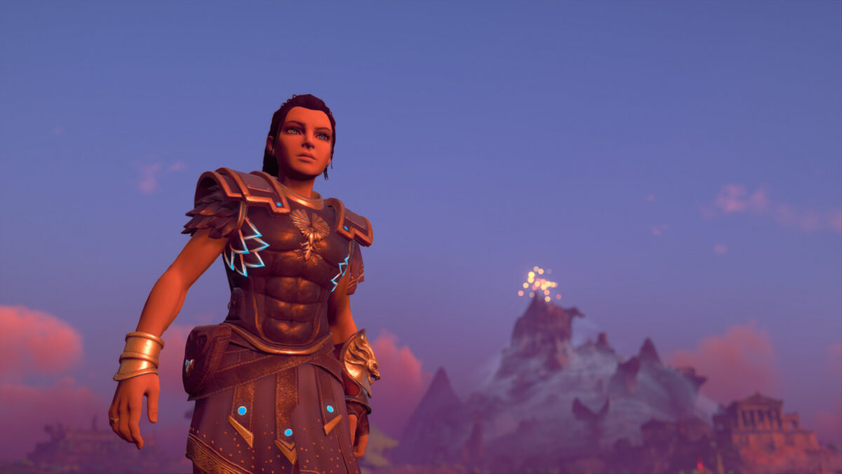 Fenyx in a leather armor in the front of the picture and a mysterious mountain looming in the background