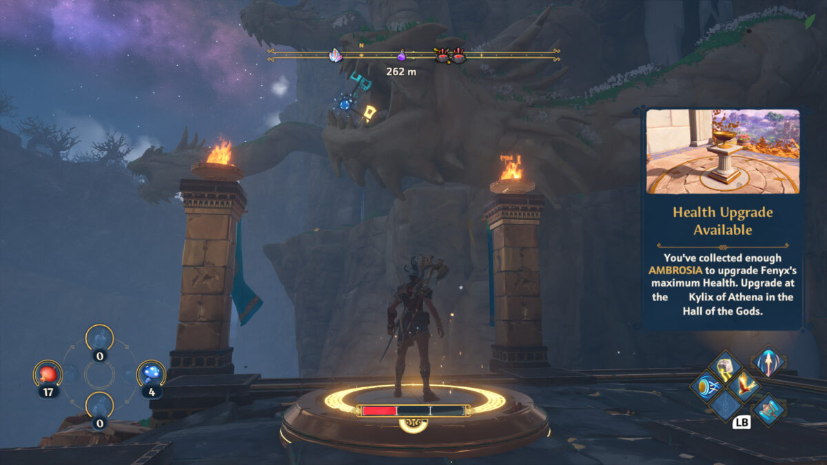 Hero stone highlighted by Fenyx standing on top of it and in the background you can see some hydra heads and a glowing target