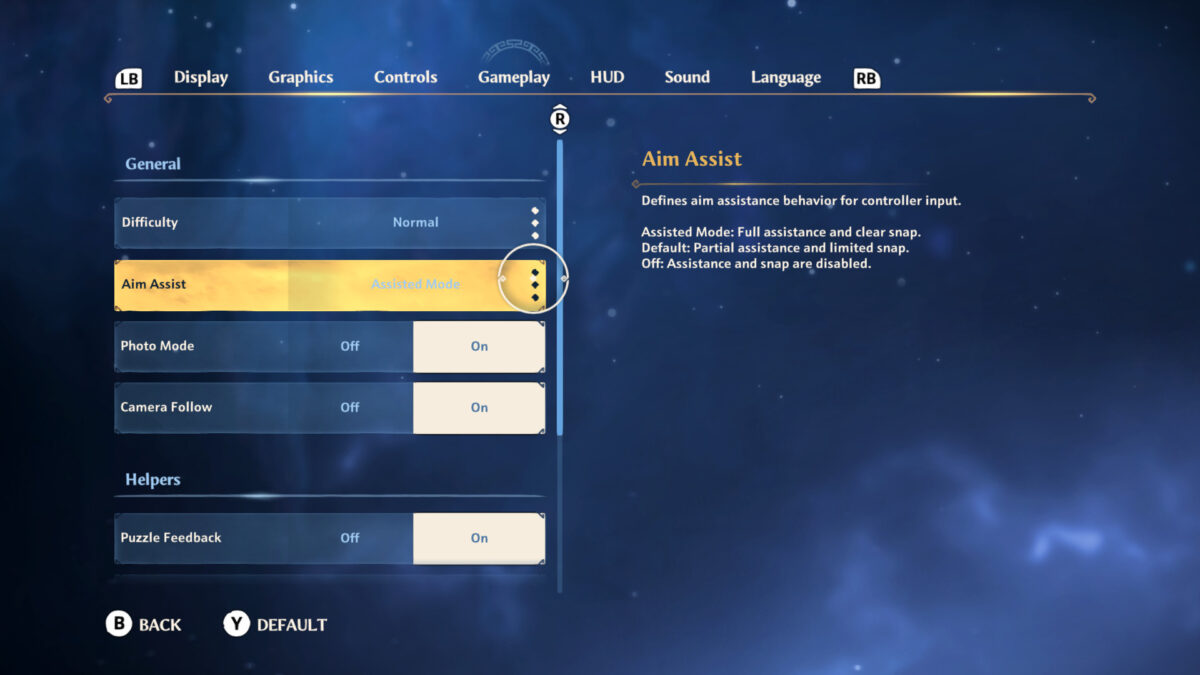 Gameplay menu with options for difficulty, aim assist, photo mode, camera follow and puzzle feedback