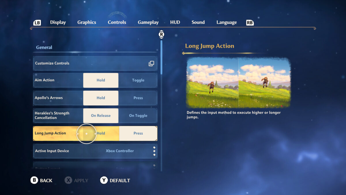 Controls menu with customize controls, aim action, apollo's arrows, Herakles strength cancellation, long jump action and input device