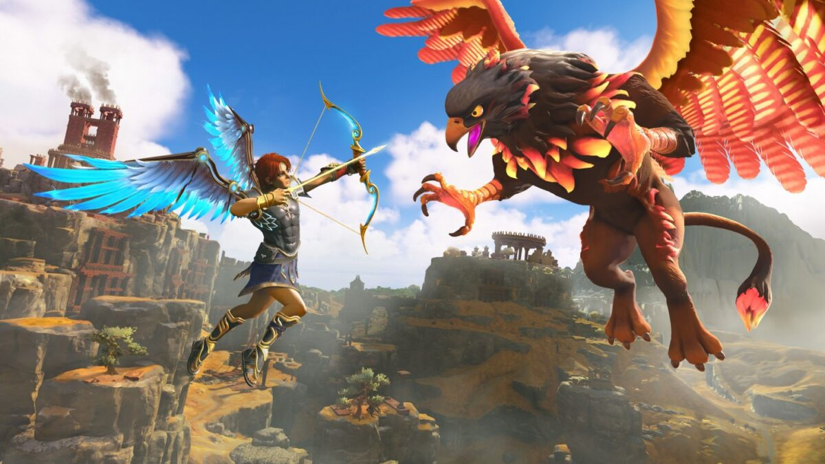 A blue-winged hero flying in the sky and aiming their arrow at a black-flamed Griffin