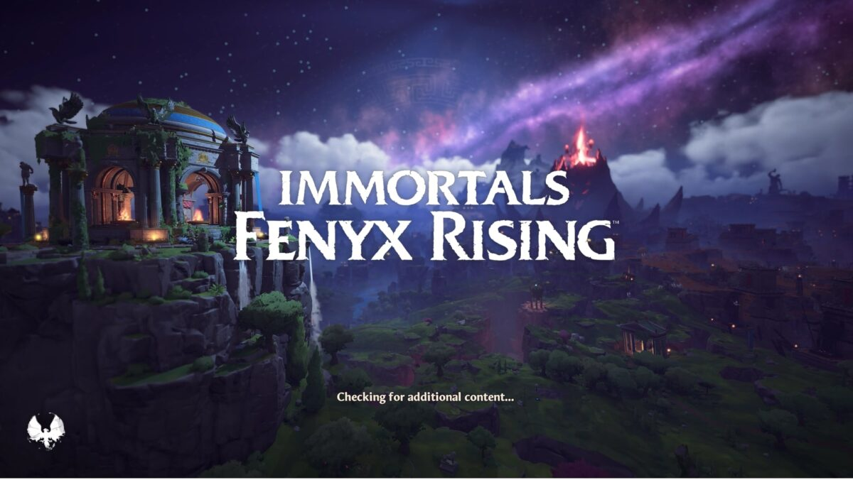 Immortals Fenyx Rising opening screen. A beautiful purple night sky is in the background, which a temple to the left on a tall mountain and a volcano erupting in the distance