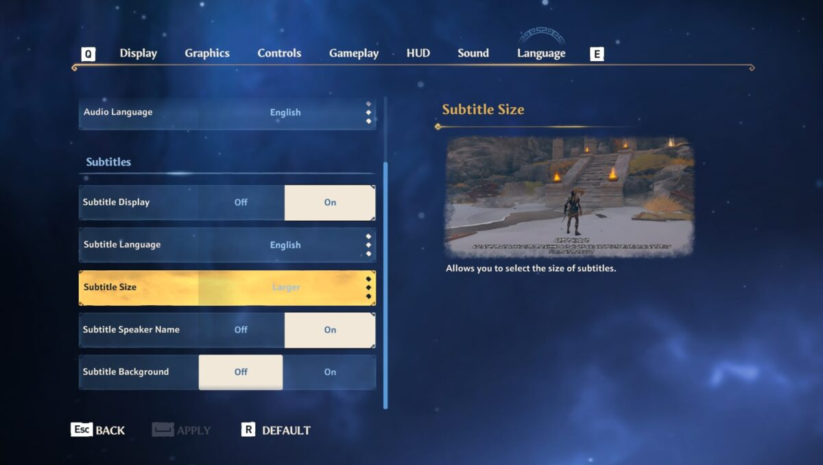 Subtitles information under language menu, which allows players to turn subtitles on/off, change the language, change the size, adjust the speaker name, and toggle subtitle background on/off