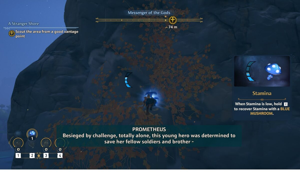 A person is climbing up an extremely tall mountain. A stamina bar is shown, with instructions on the right explaining what stamina is. Subtitles are found, with a storyteller named Prometheus sharing the story about a hero being determined to save her fellow soldiers and brother