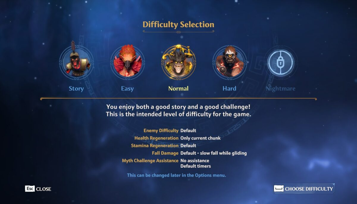 Difficulty selection menu, with 5 separate difficulties. A description of the selected difficulty is found, where it also describes the enemy difficulty, health regen, stamina regen, fall damage, and myth challenge assistance information.