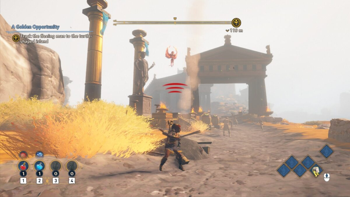 A girl fighting a winged enemy in the sky. Three red lines indicate that the enemy can see the girl and is aware of her location.