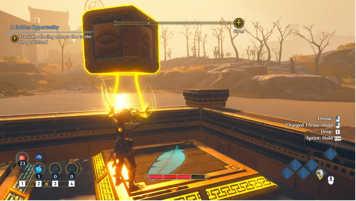 A girl holding a giant metal box with her mystical powers. Instructions on the right hand of the screen remind the player of how to interact with the object.