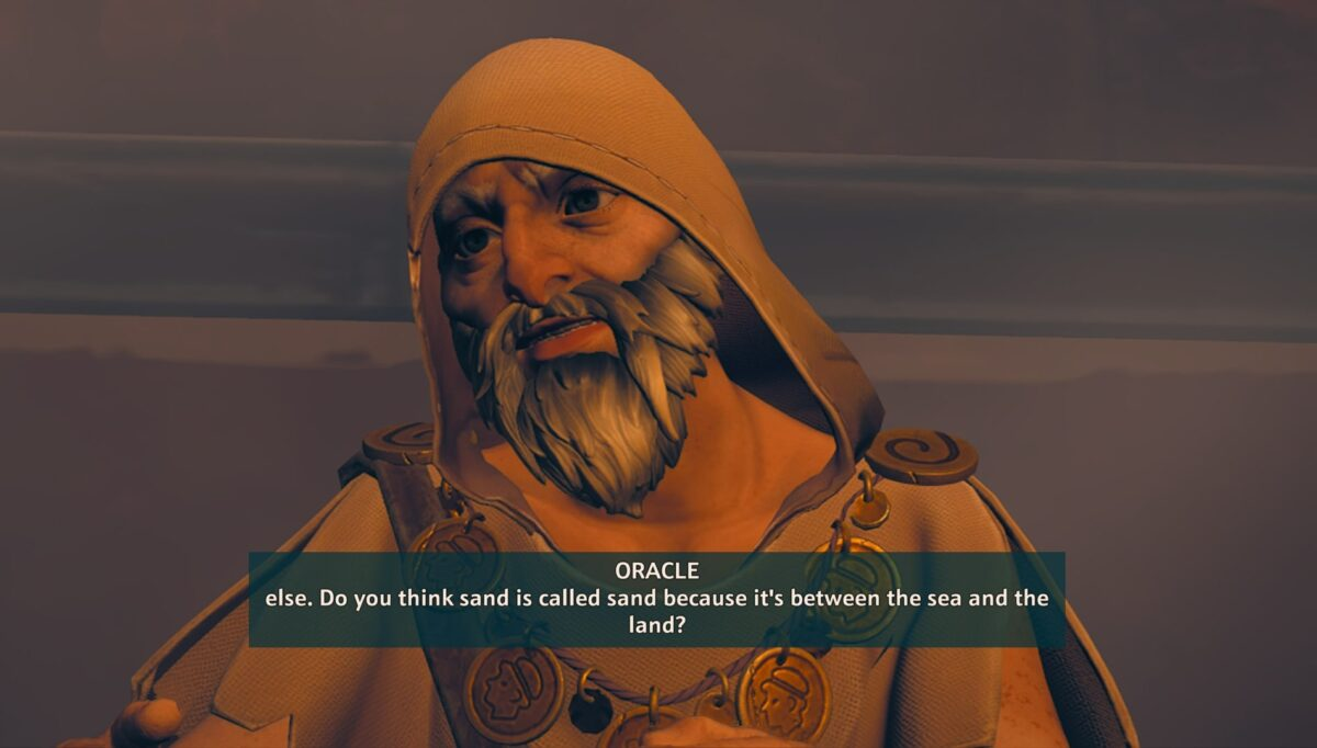 An old man in a yellow robe and old medallions around his neck. Subtitles text read: else. Do you think sand is called... indicating that the subtitles have an unnatural line break.