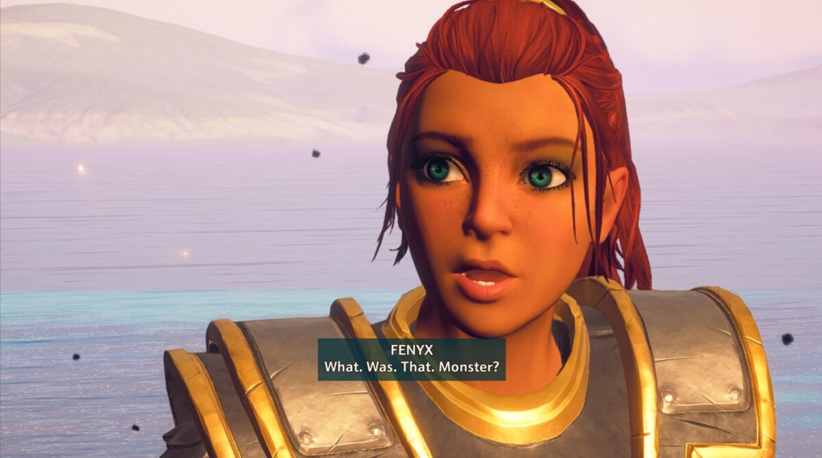 A woman with a high red ponytail and bright green eyes. She is beautiful and greek-like. Subtitles read, FENYX: What. Was. That. Monster?