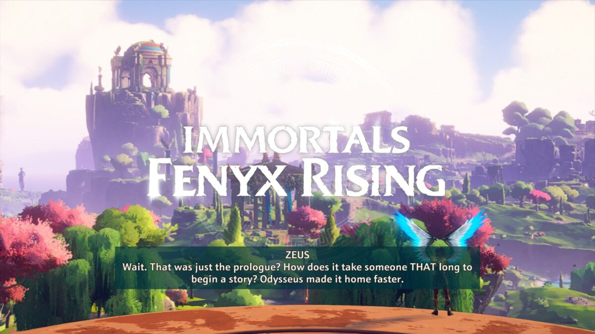 Immortals Fenyx Rising, a beautiful scene of lush green and pink trees. in the distance, an Ancient temple is seen. A blue winged hero looks toward the temple, ready to go.