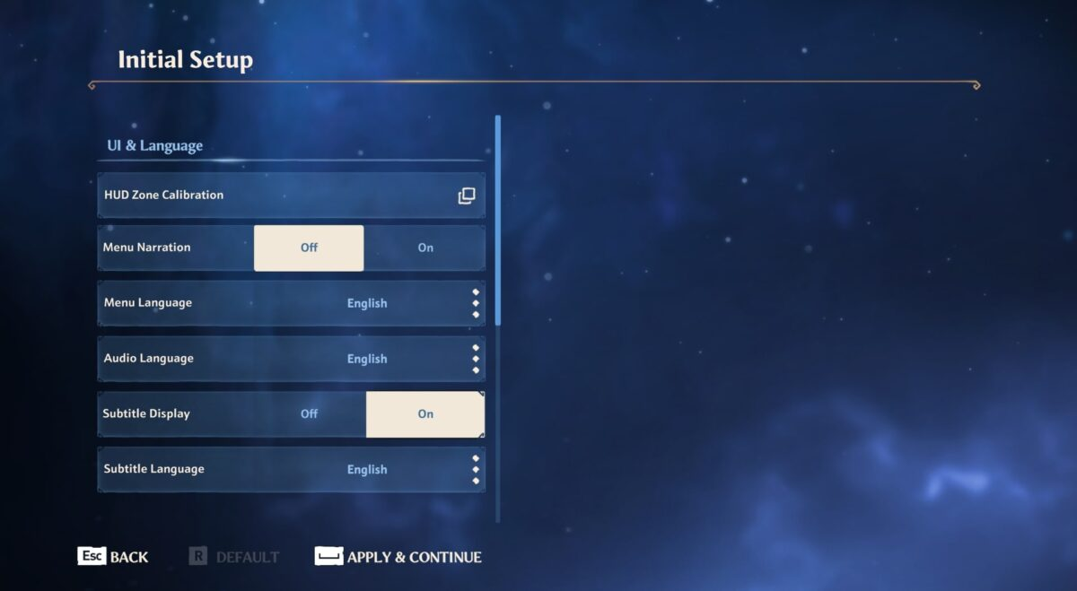 Initial setup menu, where players can adjust the UI and language