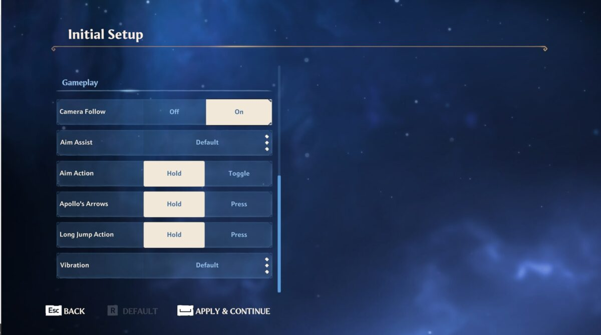 Initial setup menu, where plated can adjust the mechanics with the gameplay