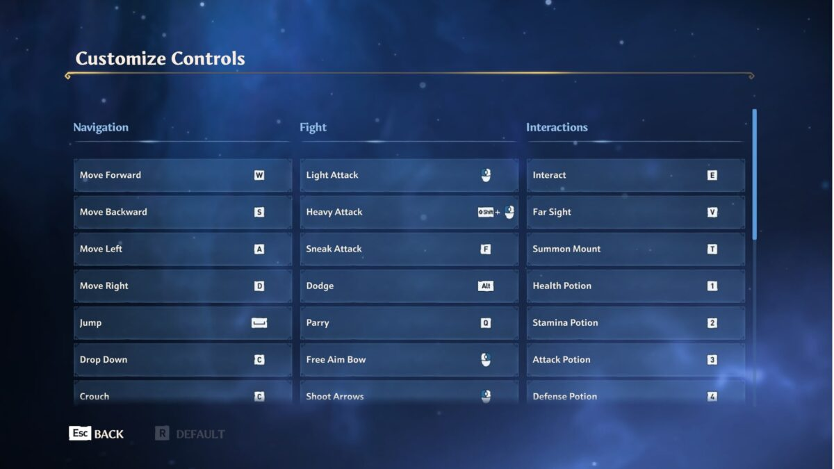 Customize controls, where players can change the controls for navigation, flight, and interactions.