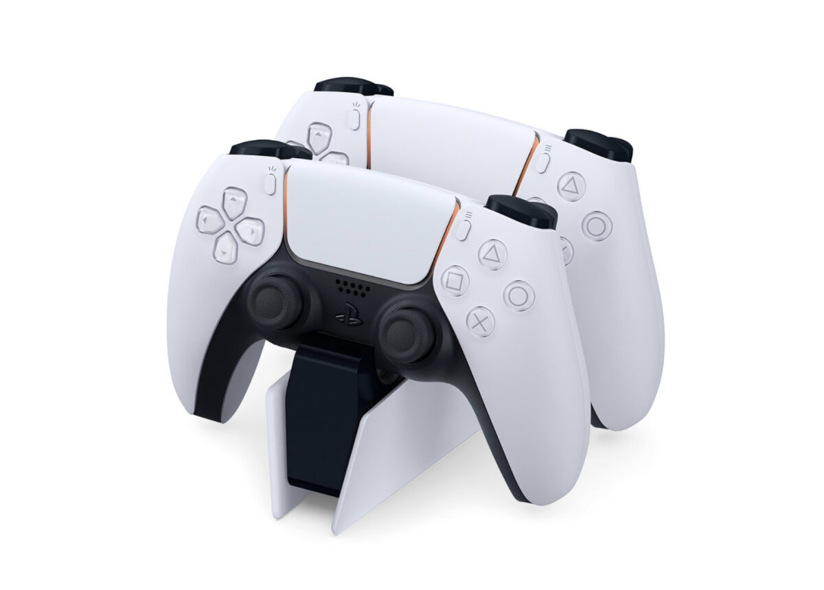 Two PS5 controllers on a chargin station