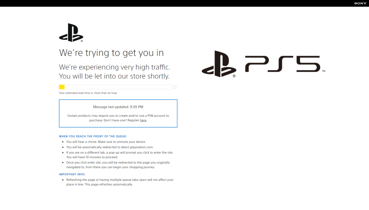 PS5 online queue, where estimation is more than one more.