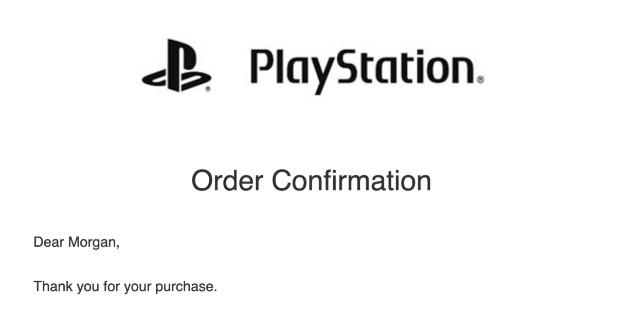 Playstation confirmation of the order, thanking the person for their purchase