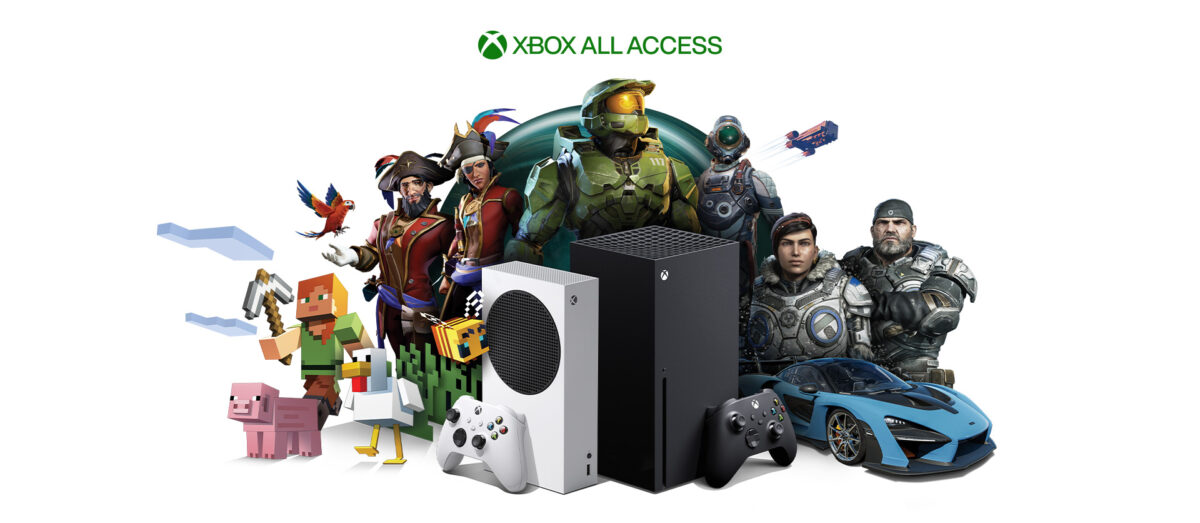 Xbox all access pass. The Xbox is center, with Xbox characters surrounding it.