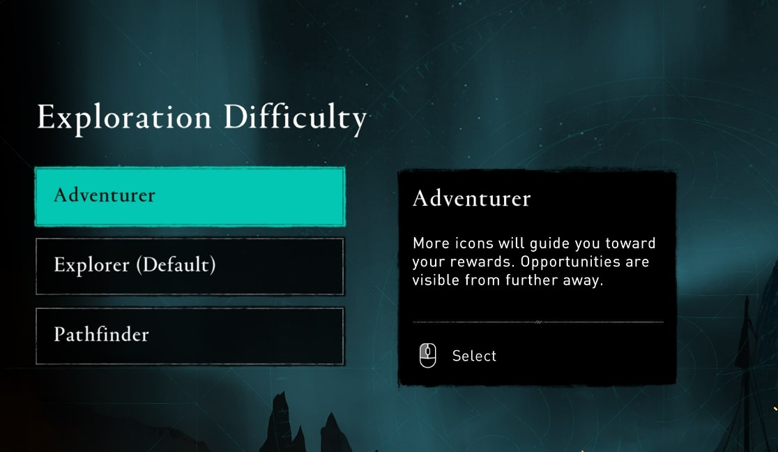 Exploration difficulty menu, where players can select one of three settings. The right hand side shows an explanation of each setting.
