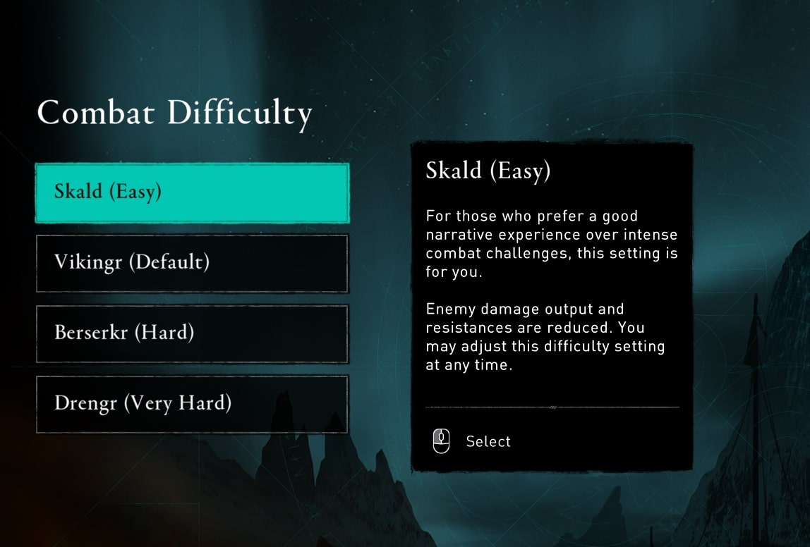 Combat difficulty menu, where players can select one of four settings. The right hand side shows an explanation of each setting.