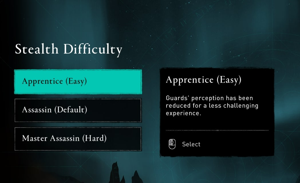 Stealth difficulty menu, where players can select one of three settings. The right hand side shows an explanation of each setting.