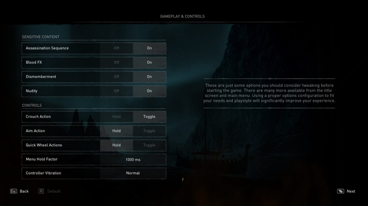 Gameplay and controls, which includes sensitive content and controls options.