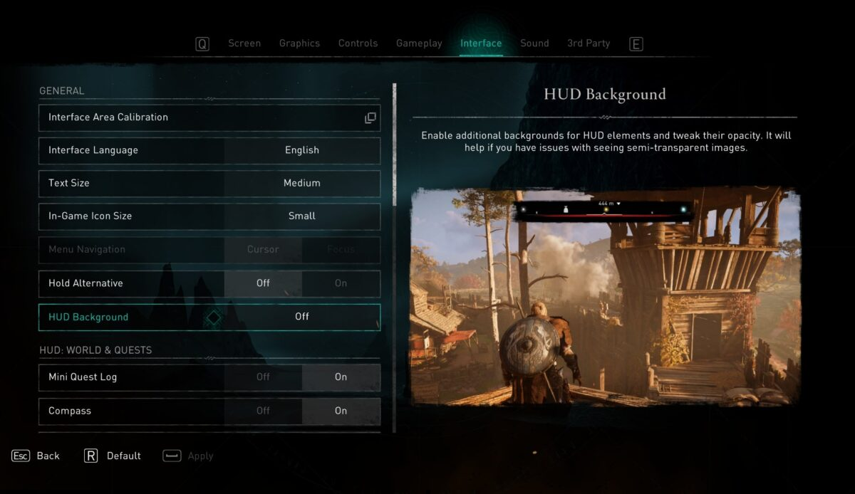 Interface menu, where plays can adjust general settings, WUD world, and quests. The HUD background is selected, which enables additional backgrounds for HUD elements and tweak their opacity. It will help if you have issues with seeing semi-transparent images. An example is shown, where the HUD on the center top has a block background to improve contrast.