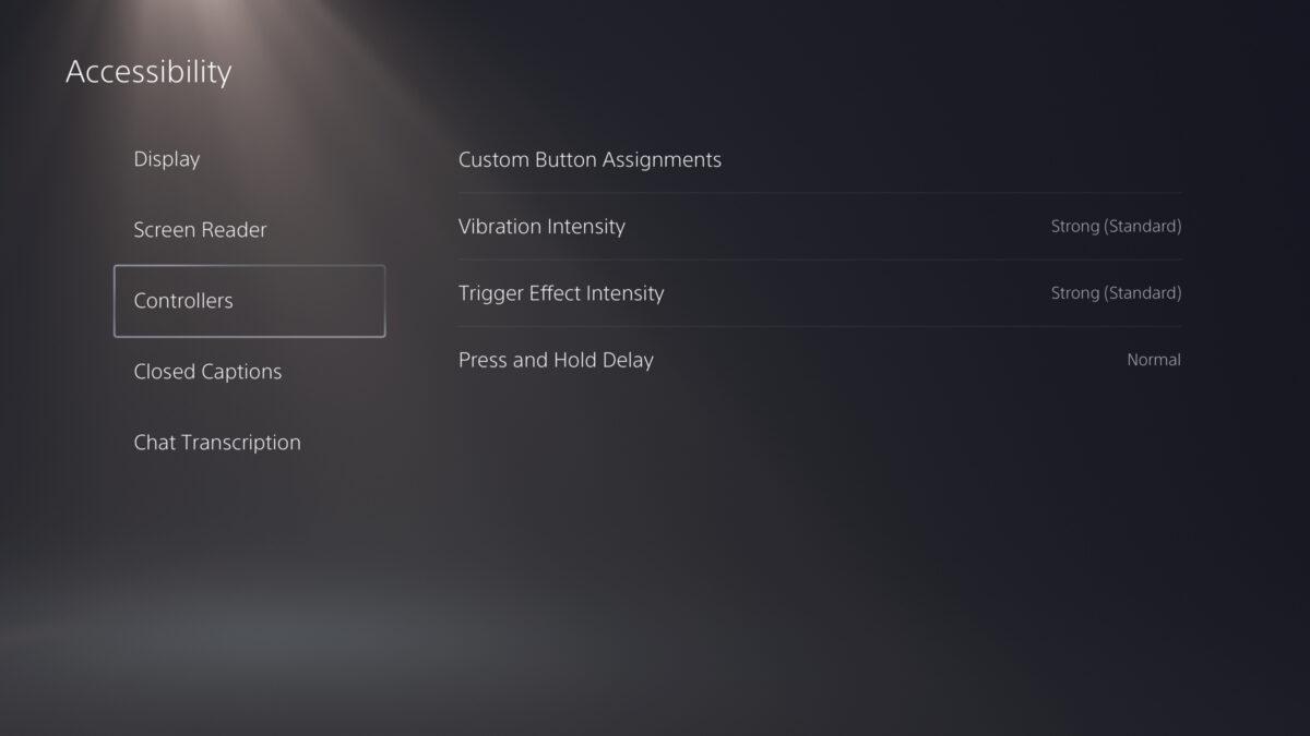 PS5 Accessibility menu