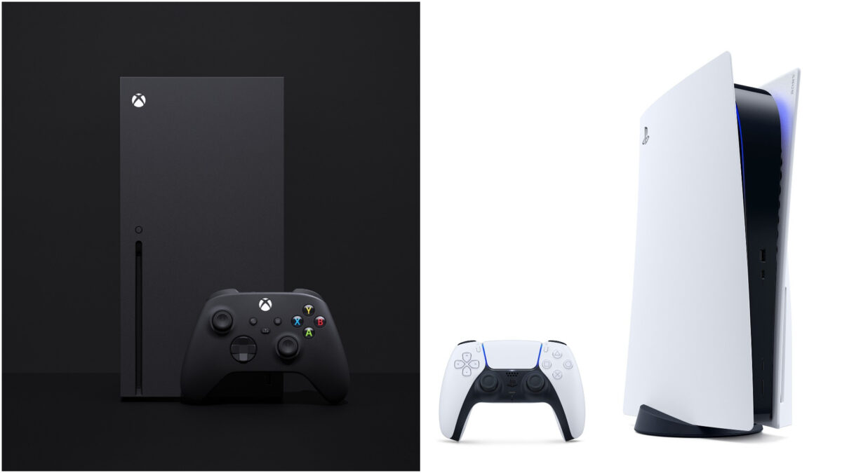 To the left, the Xbox Series X shrouded in black, to the right, the PS5 standard edition in front of a white background.