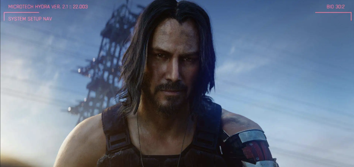 Johnny, played by Keanu Reeve, looks onto the viewer. He looks dirty and worn, but intense and epic. He is ready to freaking go.