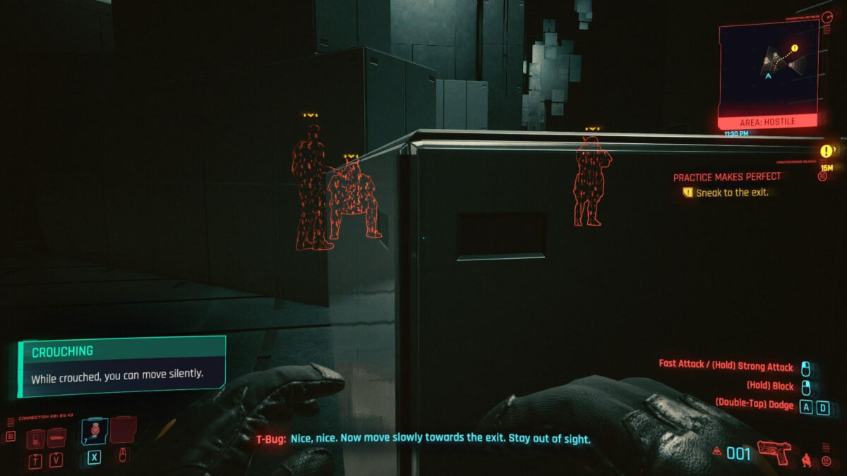 Basic in-game view, where enemies have red outlines and indicators are clearly presented, making information clear to read.
