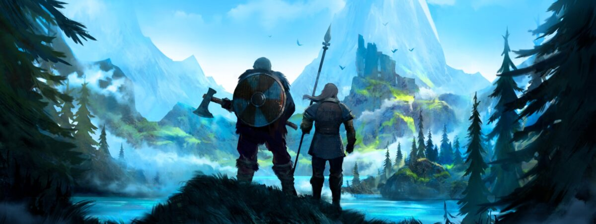 A painting of two vikings looking off to the distance at a massive mountain covered in forests, ready to be explored.