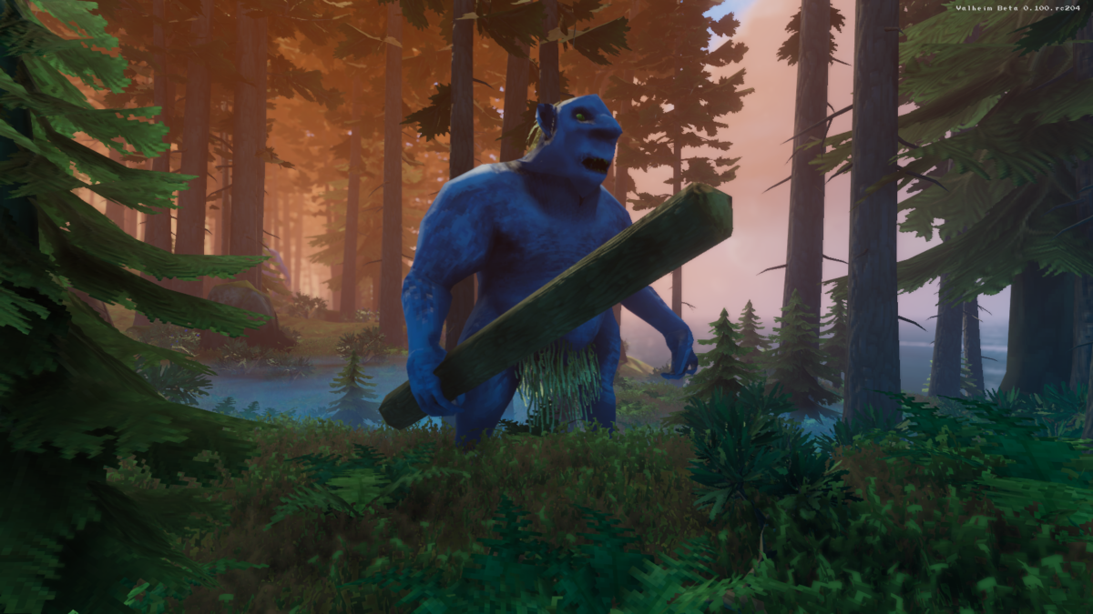 An enemy ogre wandering through the forest. He is massive and holding a whole tree as a weapon.