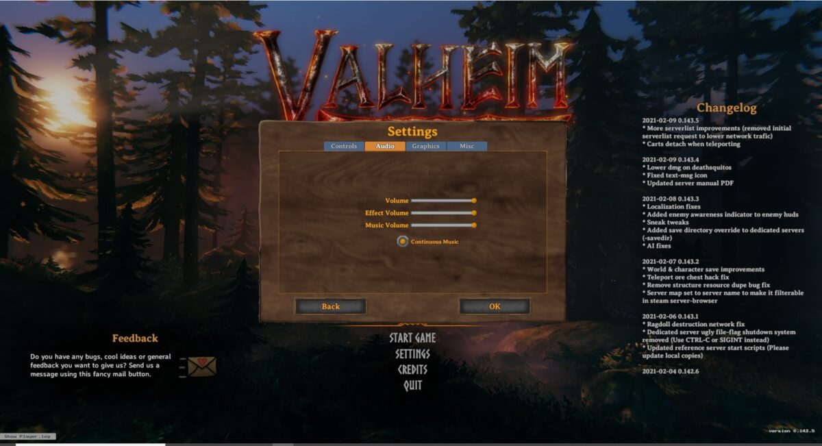 Valheim audio settings, with a master volume, effect volume, and music volume slider. Toggle on/off continuous music.
