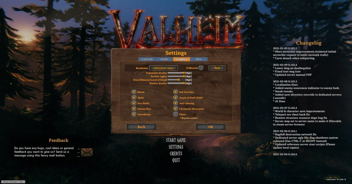 Graphics settings, which allows players to change resolutions, fullscreen, quality of lights, detail, shadow, etc. Toggle on/off varying details.