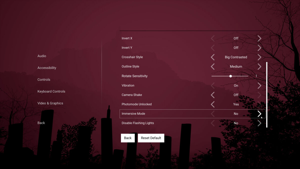Accessibility menu with options for Invert X and Y, Crosshair Style, Outline Style, Rotate Sensitivity, Vibration, Camera Shake, Photomode Unlocked, Immersive Mode, Disable Flashing Lights.