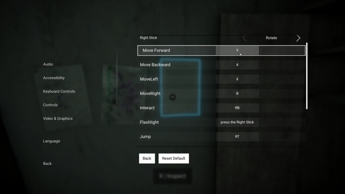 Controls menu with inputs for Move Forward, Backward, Left, Right remapped to the face buttons, Interact to Right Bumper, Flashlight to pressing Right Stickand Flashlight and Jump to Right Trigger