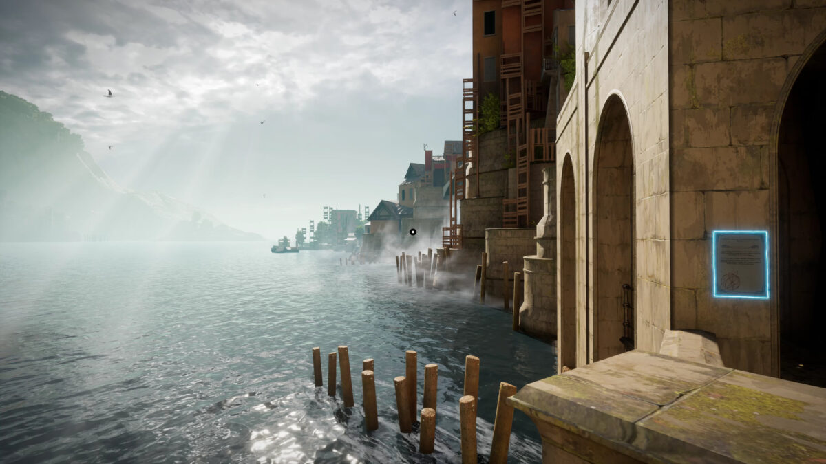 A view of the docks. The buildings look abandoned. The light briwn colored constructions contrast with the sea. Birds fly on a cloudy sky, with a few rays of light tresspassing and lighting the sea. A signpost can be seen on the closest entrance