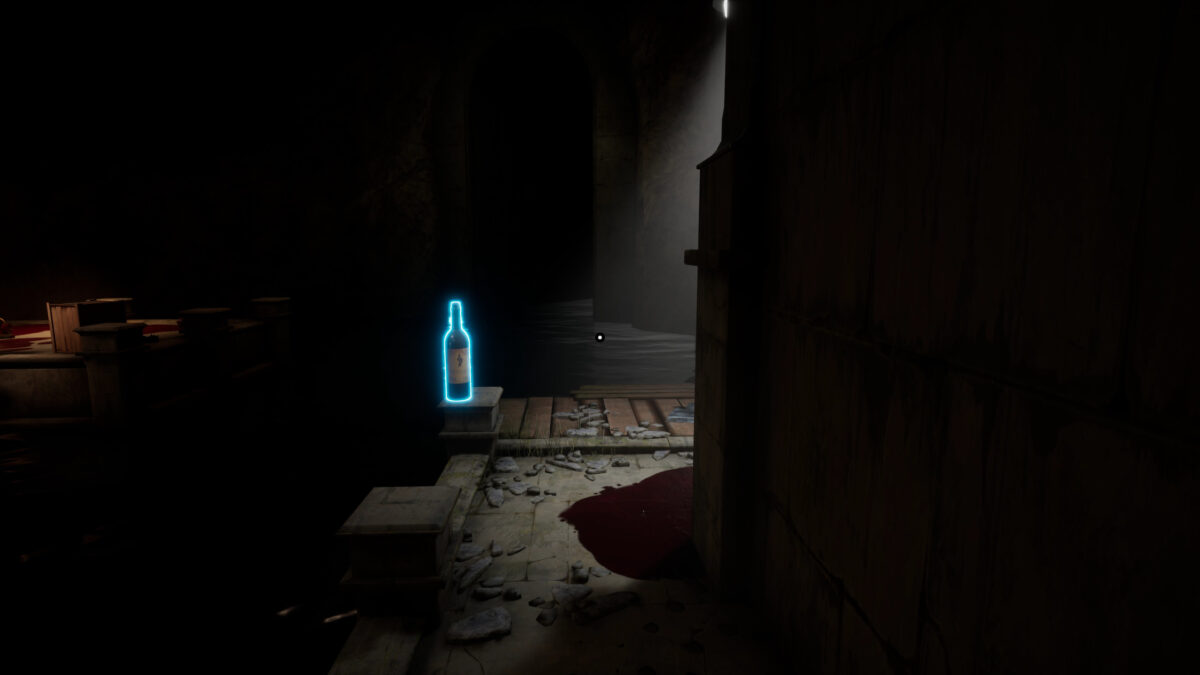 A dark passage turns to the right. There is a big red pool on the floor, highlighted by a lamp on the ceiling. There is a bottle of wine in fron of you, surrounded by a cyan outline